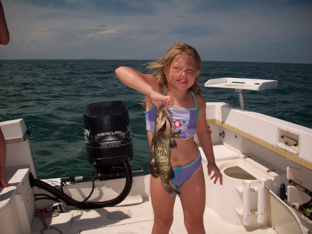 Maddie's First Grouper (of course it went back)